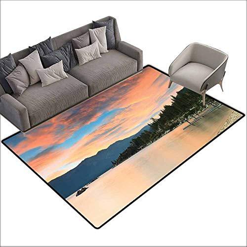 Cute Design Anti-Slip Floor MAT Colorful Lake,Romantic Sunset at Lake Tahoe Peaceful Shoreline Sierra Nevada United States,Salmon Green Ivory 36
