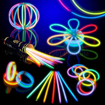 """8"""" HotLite Brand Glowsticks Glow Stick Bracelets Mixed Colors (Tube of 100) Party Favor"""
