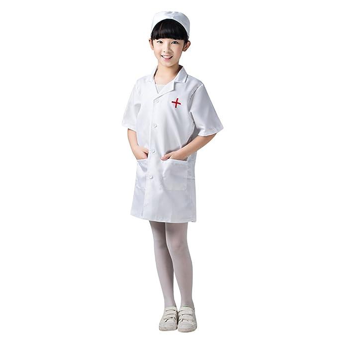 TopTie Kids De Manga Corta Bata De Laboratorio con Cap, Doctor \/ Nurse