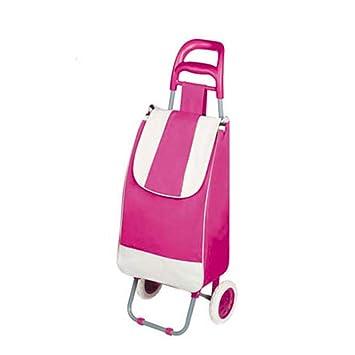 Carro de compras Carro de supermercado plegable Carro con ruedas mochilas escolares,Pink: Amazon.es: Hogar