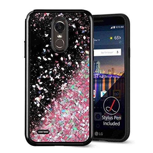 LG Stylo 3 Case, LG Stylo 3 Plus Case, SuperbBeast LG Stylo 3 Fashion Bling Liquid Floating Glitter Sparkle Girly Black TPU Bumper Case for Girls Women Children LG LS777 ()