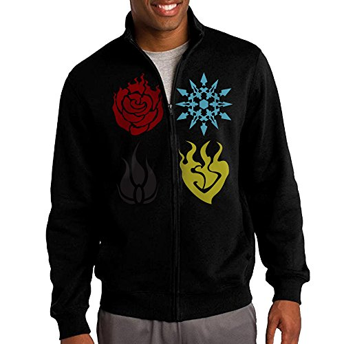 HEHE Men's Zip-up Jacket Hooded Sweatshirt RWBY Team RWBY Emblems Size XL Black