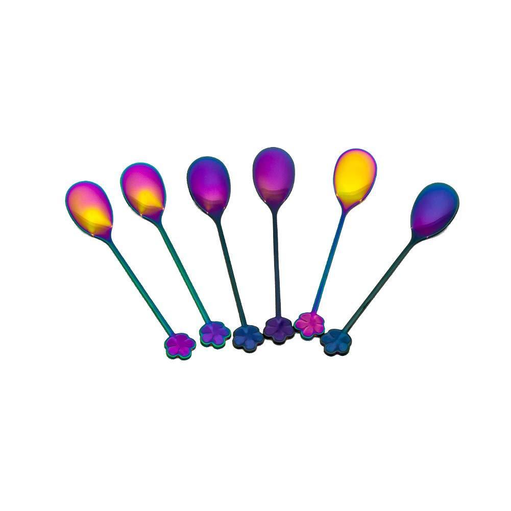 Syndecho 6pcs Rainbow Long Spoons Stainless Steel Dessert Spoons Coffee Tea Spoons 13.5x2.5cm/5.3''x1''