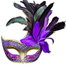 Skydue Female Feathers Masquerade Mask for Halloween Party Events Mardi Gras (Purple)