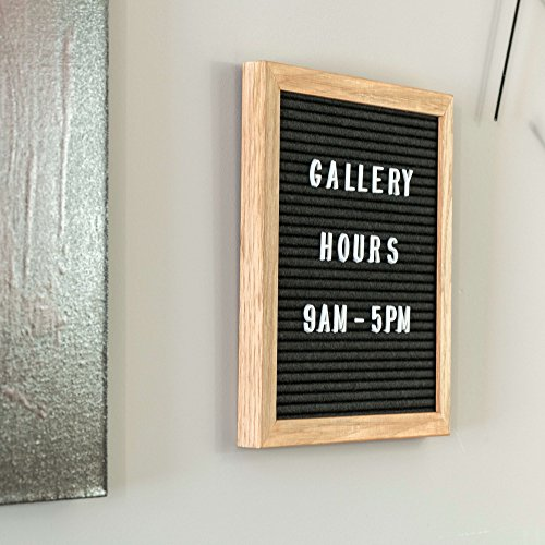Black Felt Letter Board 10x10 inches with Natural Oak Wood Frame, 680 White Letters with 340 Glow-in-the-Dark Letters, Changeable Message Board Sign with Numbers, Symbols and Wall (Natural Oak Wood)