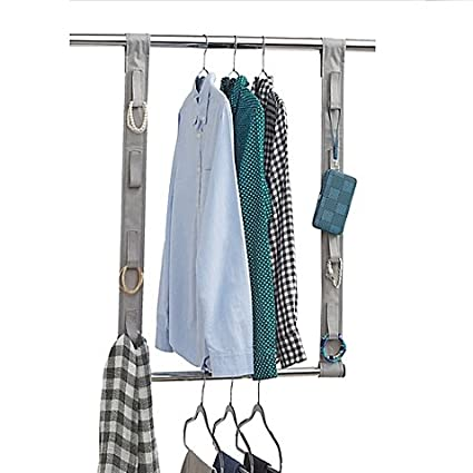 Beau Studio 3B Closet Rod Hanging Extension With Fabric Straps In Grey,  41.75u0026quot; L X