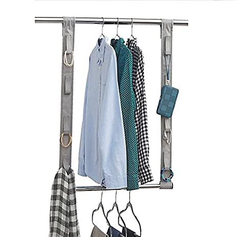 Studio 3B Closet Rod Hanging Extension With Fabric Straps In Grey,  41.75u0026quot; L X
