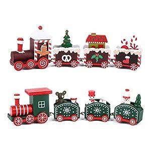 FLOFIA 2 pz Treno di Natale in Legno Treno Natalizio Decorativo con 3 Carrozze per Decorazione Natalizia Regalo Ragazzi Familiari Calendario Arrivo Festa di Natale 9 spesavip