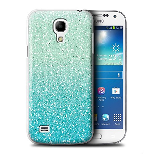 STUFF4 Phone Case/Cover for Samsung Galaxy S4 Mini/Mint Ombre Design/Glitter Pattern Effect (Pattern Plastic Hardback Cover)