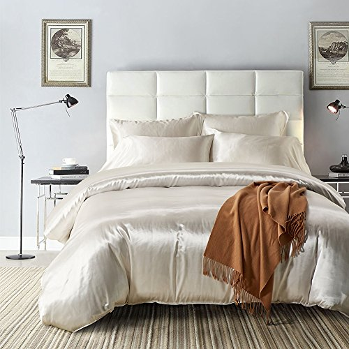 Belimely Duvet Cover 3pc Set Sofy Comfortable Queen Quilt cover Includes 2 Pillow Shams Silk European style Luxury White 90