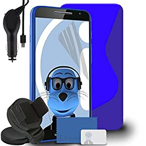 iTALKonline Motorola Moto X Play 2015 Blue TPU S Line Wave Hybrid Gel Skin Case Protective Jelly Cover with 3 Layer LCD Screen Protector, 360 Degrees Rotating Case Compatible In Car Windscreen Suction Mount Holder and 1000 mAh Coiled In Car Charger LED Indicator and Overload Protection