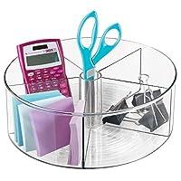 mDiseño de plástico profundo Lazy Susan Turntable Contenedor de almacenamiento - Organizador giratorio dividido para artículos de oficina en el hogar, bolígrafos, gomas de borrar, cinta, lápices de colores - transparente