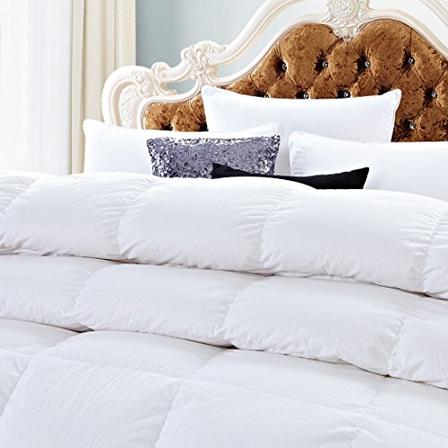 White Goose Down Comforters King/Cal King Size 600 Thread Count 100% Cotton 700 + Fill Power Shell Down Proof-Solid White Hypo-allergenic with Corner Tabs by SHEONE (Image #1)