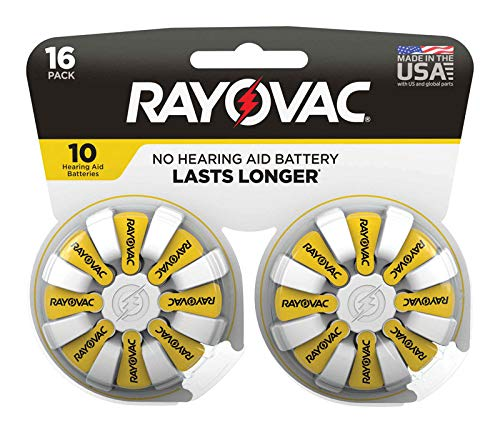 Rayovac 3537149 1.45V Zinc-Air 10 Hearing Aid Battery44; 16 per Pack - Pack of 4 by Rayovac