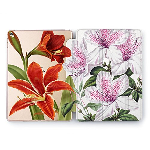Wonder Wild Pink Red Lily iPad Cover Pro 9.7 inch Rose Gold Flowers Pattern mini1 2 3 4 Floral Crown Print Air 2 10.5 12.9 Apple Beautiful Design Light Purple White Clear Auto Wake Sleep Function Cute (Light Blossom Three)