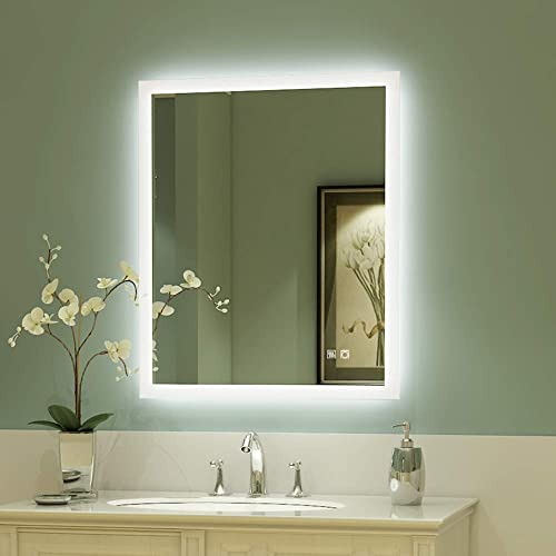 ExBrite 30 x 36 inch Backlit LED Lighted Bathroom Vanity Mirror Anti Fog Dimmable Touch Button Super Slim 90 CRI Waterproof IP44 Vertical Horizontal Wall Mounted Way