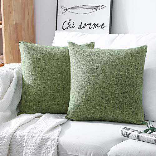 Phantosope Decorative Set of 2 Textural Faux Linen Series Throw Pillow Case Cushion Cover Green 20 x 20 inches 50 x 50 cm