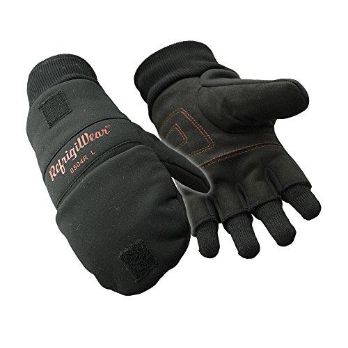 RefrigiWear Fleece Lined Fiberfill Insulated Softshell Convertible Mitten Gloves (Black, XL)