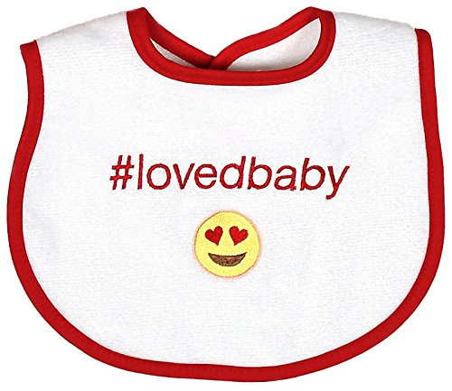 Raindrops Loved Baby Hashtag Bib, Cherry Red (Cherry Red Tags)