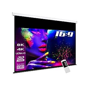 eSmart - Pantalla para proyector (superficie de visualización 265 x 150 cm, formato de imagen 16:9, anchura de la carcasa 297 cm, mando a distancia ...