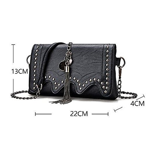 Sac Chaîne à Rivet Bag à Main PU Bandoulière Mode Womens Black Sac DHFUD Messenger XwnxBRaqA