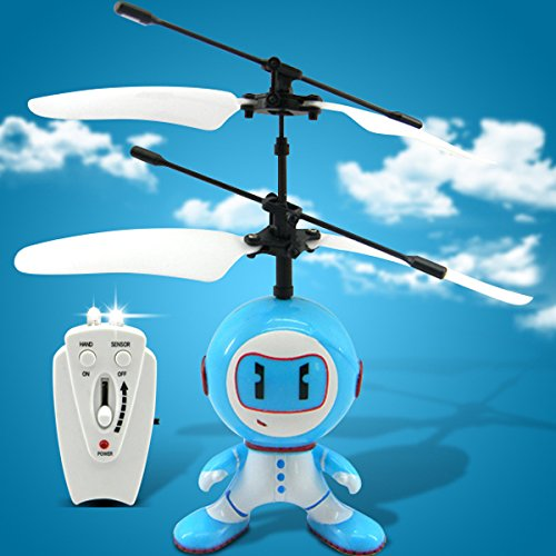 Flying Saucer Light Ufo Alien 2 Rc Remote Control Robot Helicopter Aircraft 2-In-1 Radio Infrared Sensor - Blue