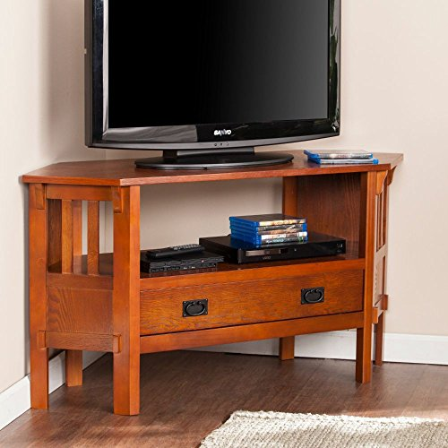 Carson Corner Media Stand in Brown Mahogany