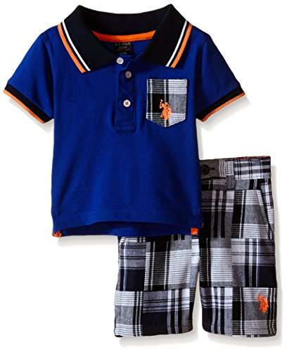 Patchwork Boys Shorts (U.S. Polo Assn. Boys' Patchwork Flat Front Short and Pique Shirt, Multi Plaid, 24)