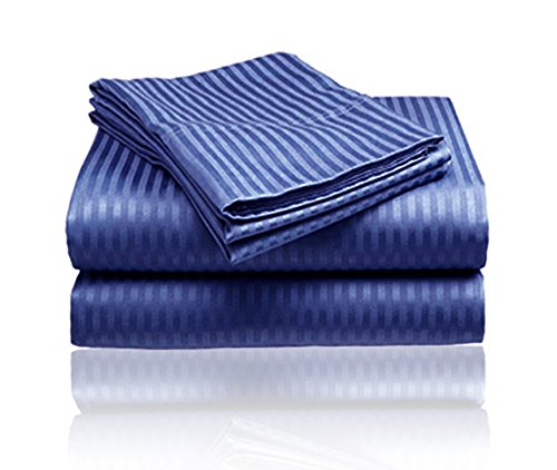 1800 Series Embossed Egyptian Striped 4-Piece Sheet Set Quee