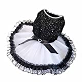 Fashion Spring Summer Dog Clothes Pet Dog Puppy Tutu Dress Princess Fluffy Wedding Lace Skirt Clothing Apparel Black (S)