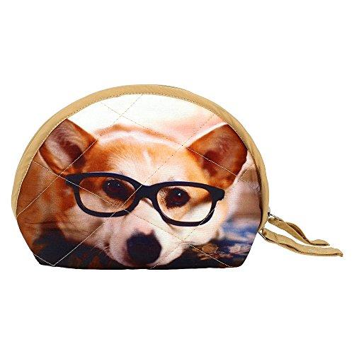 Price comparison product image Digital Dog Printed Dupion Faux Silk Womens Wristlet Bag
