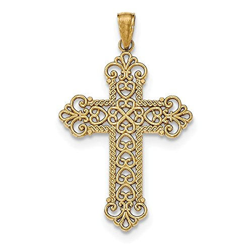 14K Yellow Gold Polished Large Rope Frame Filigree Cross Pendant (14k Filigree Cross Pendant)