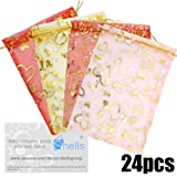 Shells 24Pack Multi-color Organza Gift Bags Candy Bags Gift Bags Flat Style Bags 3.9 X 5.1 Inches For Wedding, Party And Home Decoration