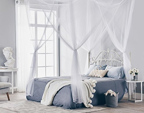 Four Poster Canopy (Truedays Four Corner Post Bed Princess Canopy Mosquito Net, Full/Queen/King Size)