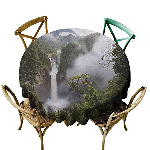(small round tablecloth 54 inch Rainforest,San Rafael Falls Ecuador Misty Natural Waterfall in Lush Jungle Landmark Scene, Green Grey 100% Polyester Spillproof Tablecloths for Round Tables)