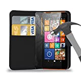 Black Leather Wallet Case Cover Pouch With Tempered Glass Screen Protector For All New Nokia Lumia 640/635/630/735/730/520/525/435/625