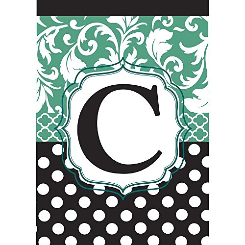 Monogram C Filigree Aqua and Black Polka Dot 18 x 13 Rectangular Double Applique Small Garden - Filigree Monogram