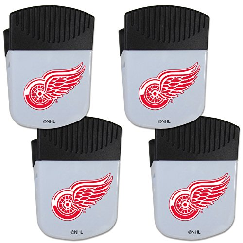 Siskiyou NHL Detroit Red Wings Chip Clip Magnet with Bottle Opener, 4 Pack ()