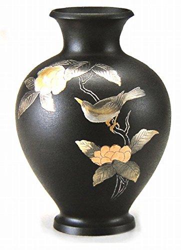 山本秀峰『福寿木瓜に鳥花器』銅製 B079KP8XDK