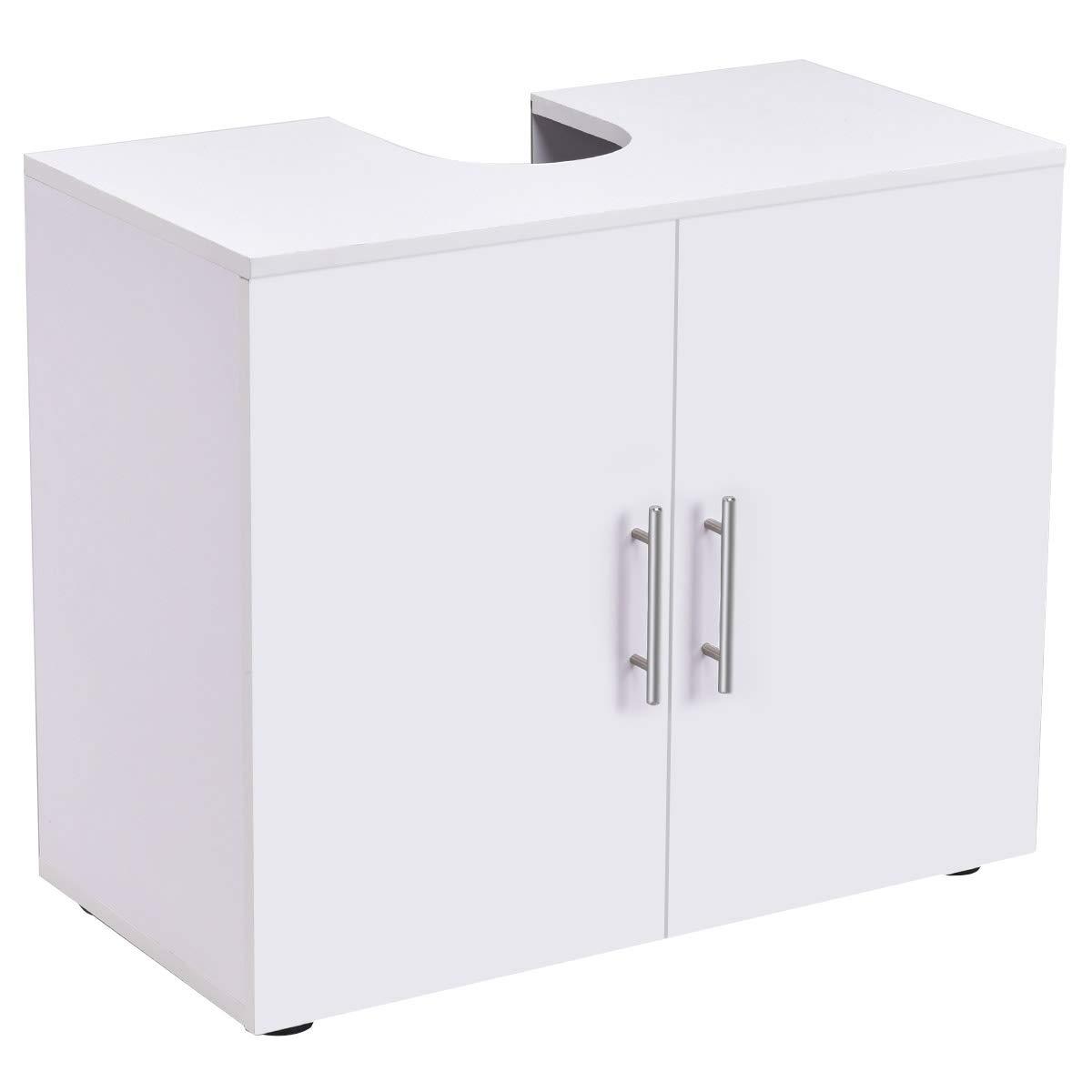 Bathroom Non Pedestal Under Sink Vanity Cabinet Multipurpose Freestanding Space Saver Storage Organizer Double Doors with Shelves, White by WATERJOY