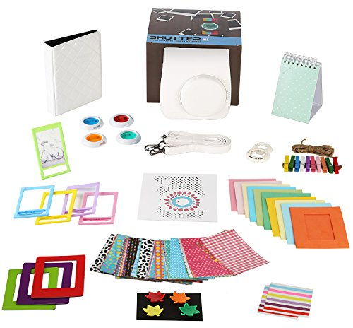 Fujifilm Instax Mini 8+ vanilla Camera Accessories Bundle, 14 Piece kit Set Includes: Camera Case + Strap, 2 Albums, Color Filters, Selfie lens, Magnets + Hanging + Creative Frames, stickers, Gift Box