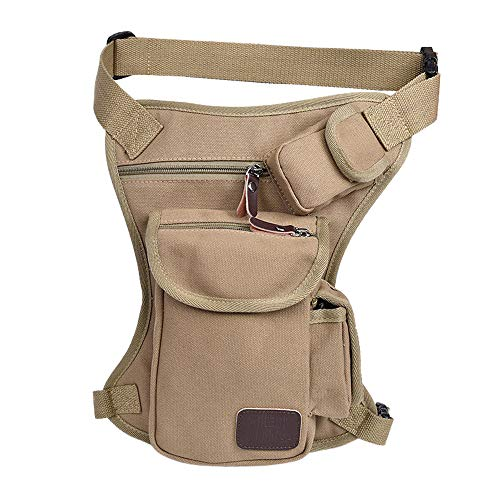Tactical Leg Bag Men's Canvas Hip Belt Bum Thigh Pack Practical Tactics Waist Pouch for Outdoor Sports Racing Bike Cycling Multi-Purpose Messenger Shoulder Bag by laamei (Image #2)