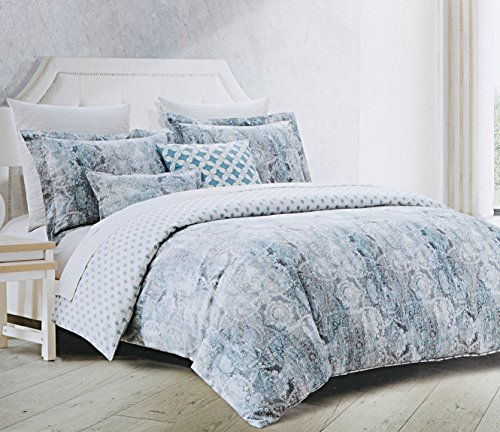 Blue Denim Comforter Set (Envogue Bedding Tiles Medallion Denim Blue Grey Duvet Cover 3pc Set Antique Linen Textured Damask Print Reversible (Queen))