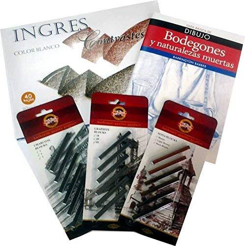 Pack Bodegones/Naturaleza muerta–Blocco Disegno + saguines, carboncini e Grafitos assortiti