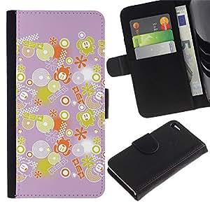 For Apple iPhone 4 / iPhone 4S,S-type® Decoration Pink Yellow Pattern - Dibujo PU billetera de cuero Funda Case Caso de la piel de la bolsa protectora