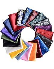 Juego de 20 pañuelos cuadrados de bolsillo para hombre, varios colores con caja