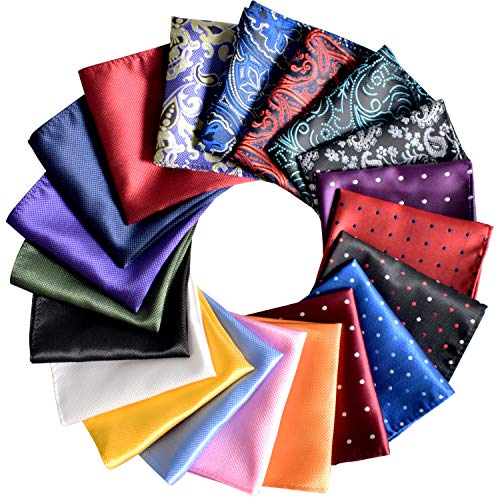 Jeatonge Pocket Squares for Men 20 Pack Mens Pocket Squares Set Assorted Colors with Gift Box, Mixed Colors, Medium