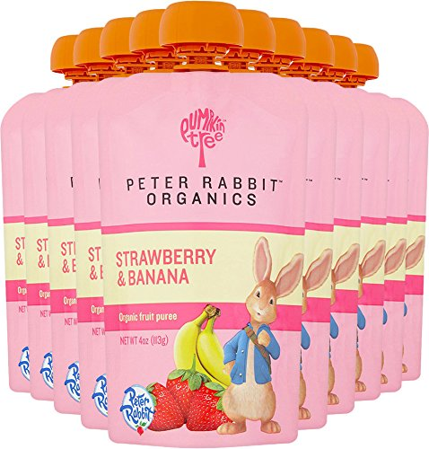 Large Product Image of Peter Rabbit Organics, Organic Strawberry and Banana 100% Pure Fruit Snack, 4.0-Ounces Pouches, (Pack of 10)