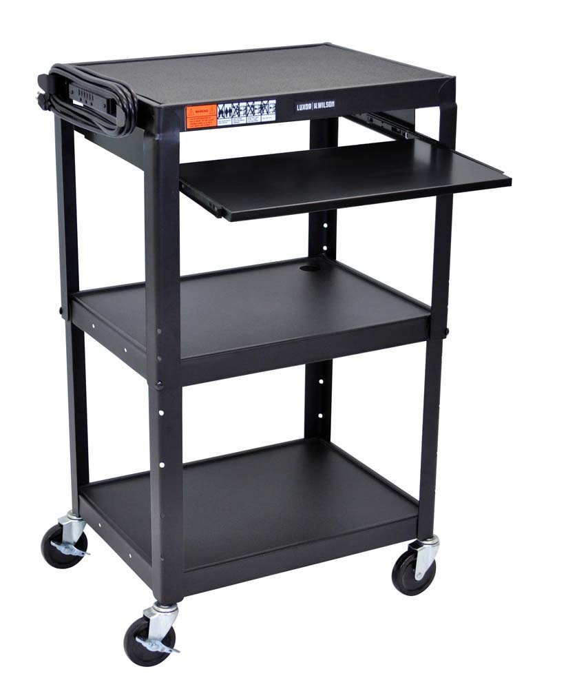 Offex 42-Inch Adjustable Height Steel Cart with Pullout Keyboard Tray (OF-AVJ42KB)