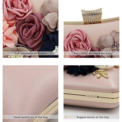 Milisente Mujer Flor Embragues Bolsos Clutches Rhinestones Con Cuentas Bolsos de Noche Rosa
